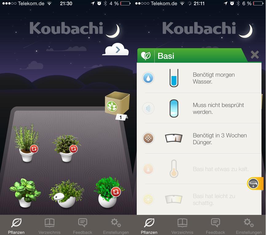 Koubachi App Homescreen