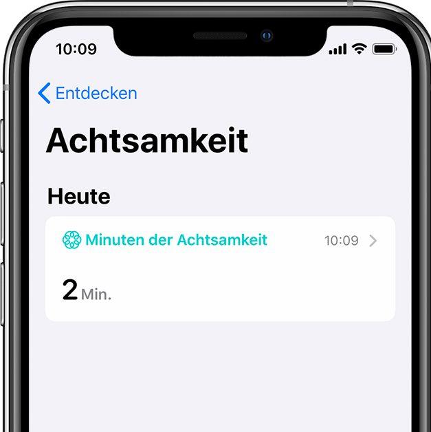 """Atemübungen werden in Apple Health unter """"achtsame Minuten"""" protokolliert"""
